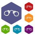 handcuffs icons set vector image vector image
