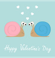 happy valentines day snail icon pink and bue vector image vector image
