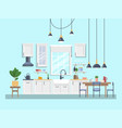 interior of kitchen with dining area modern design vector image