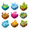 isometric colorful game islands set vector image vector image