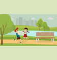 kids playing together outside vector image