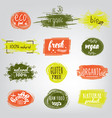 labels with vegetarian and raw food diet designs vector image vector image