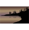 Landscape lake of silhouette vector image