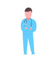 male doctor with stethoscope folded hands man vector image