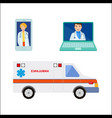 male female doctor avatar ambulance car vector image vector image