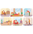 man on maternity leave with child scenes set dad vector image