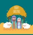 mary joseph with sheeps hut manger nativity merry vector image vector image