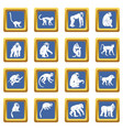 monkey types icons set blue vector image vector image