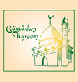 mosque hand drawn ramadan greeting vector image vector image