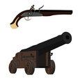 Musket and cannon vector image vector image