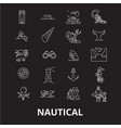 nautical editable line icons set on black vector image