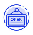 open sign board hotel blue dotted line line icon vector image