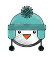 penguin with winter hat character vector image vector image
