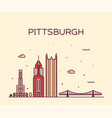 pittsburgh a skyline pennsylvania usa line vector image vector image