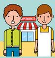 salesman and customer man supermarket concept vector image vector image