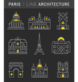 Set Flat Line Icons Paris Architecture vector image vector image