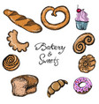 set of bakery linear hand-drawn design elements vector image