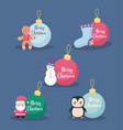 set of balls decorative christmas vector image vector image