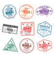 set of travel visa stamps for passports abstract vector image