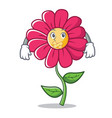 silent pink flower character cartoon vector image vector image