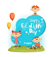 stand with friendship day title children vector image vector image