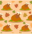 thanksgiving seamless background with cooked turke vector image vector image