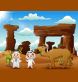 two arab boys with camels in the desert vector image vector image