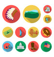 usa country flat icons in set collection for