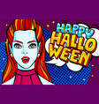 vampire girl and happy halloween message vector image vector image