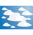 White paper clouds on blue sky background vector image vector image