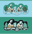 winter landscape flat day and night vector image vector image