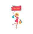 woman with shopping bags in hands dressed in red vector image vector image