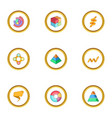 business chart icons set cartoon style vector image