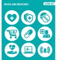 set of round icons white Drugs and medicines vector image