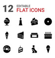 12 cream icons vector image vector image