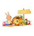 A rabbit easter eggs a pumpkin and an empty vector image vector image