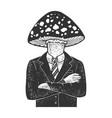 amanita head businessman sketch vector image vector image
