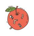 apple worm a hand drawn cartoon an vector image