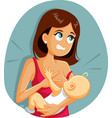 babiting mom while breastfeeding funny cartoon vector image vector image