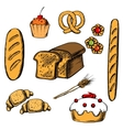 Bakery cakes and pastry objects vector image