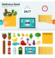 Banner and Icons of Delivery Food vector image vector image