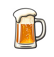 big mug beer with foam and bubbles hand drawn vector image