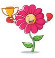 boxing winner pink flower character cartoon vector image vector image