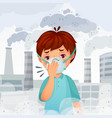 boy wearing n95 mask dust pm 25 air pollution vector image