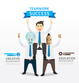 businessman cartoon infographic teamwork succes vector image vector image