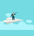 businessman using telescope on paper plane vector image vector image
