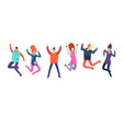 cartoon people in winter clothes jumping happy vector image vector image
