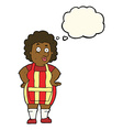 cartoon woman in kitchen apron with thought bubble vector image vector image