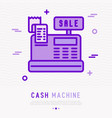 cash machine thin line icon with receipt vector image