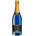 Champagne bottle in blue color vector image